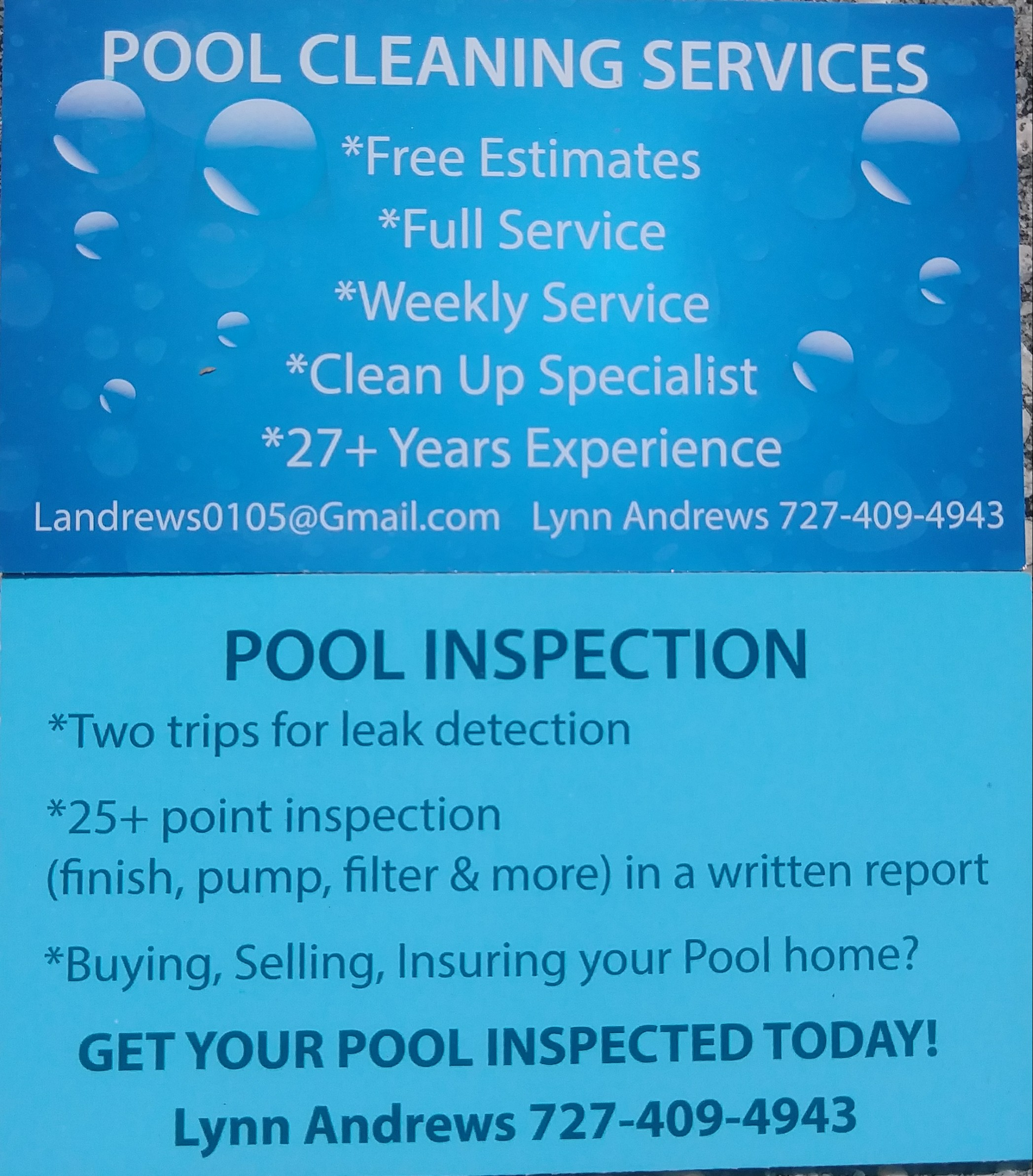 Business card of Pool Cleaning & Inspection Services