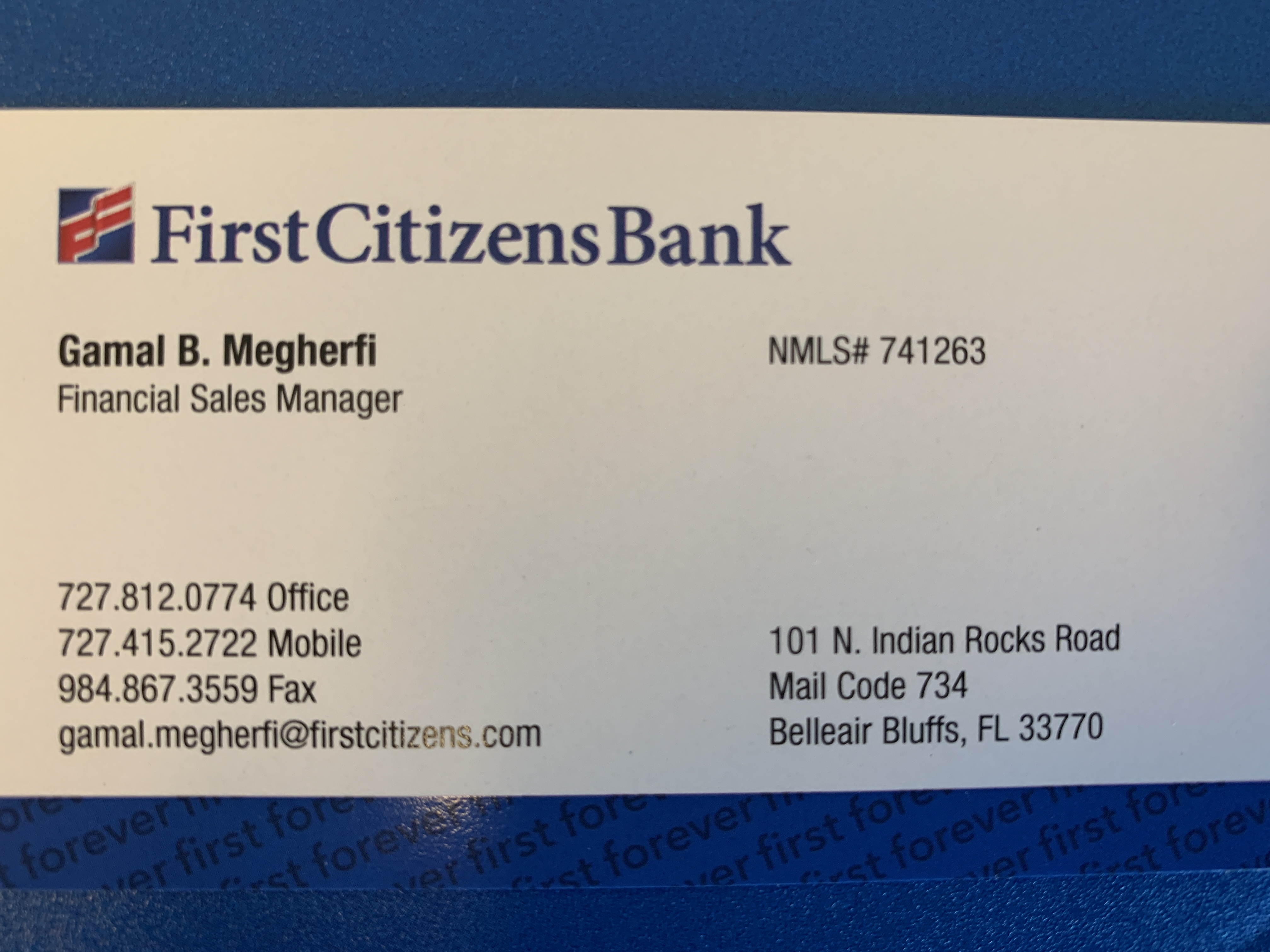 Business card of  First Citizens Bank