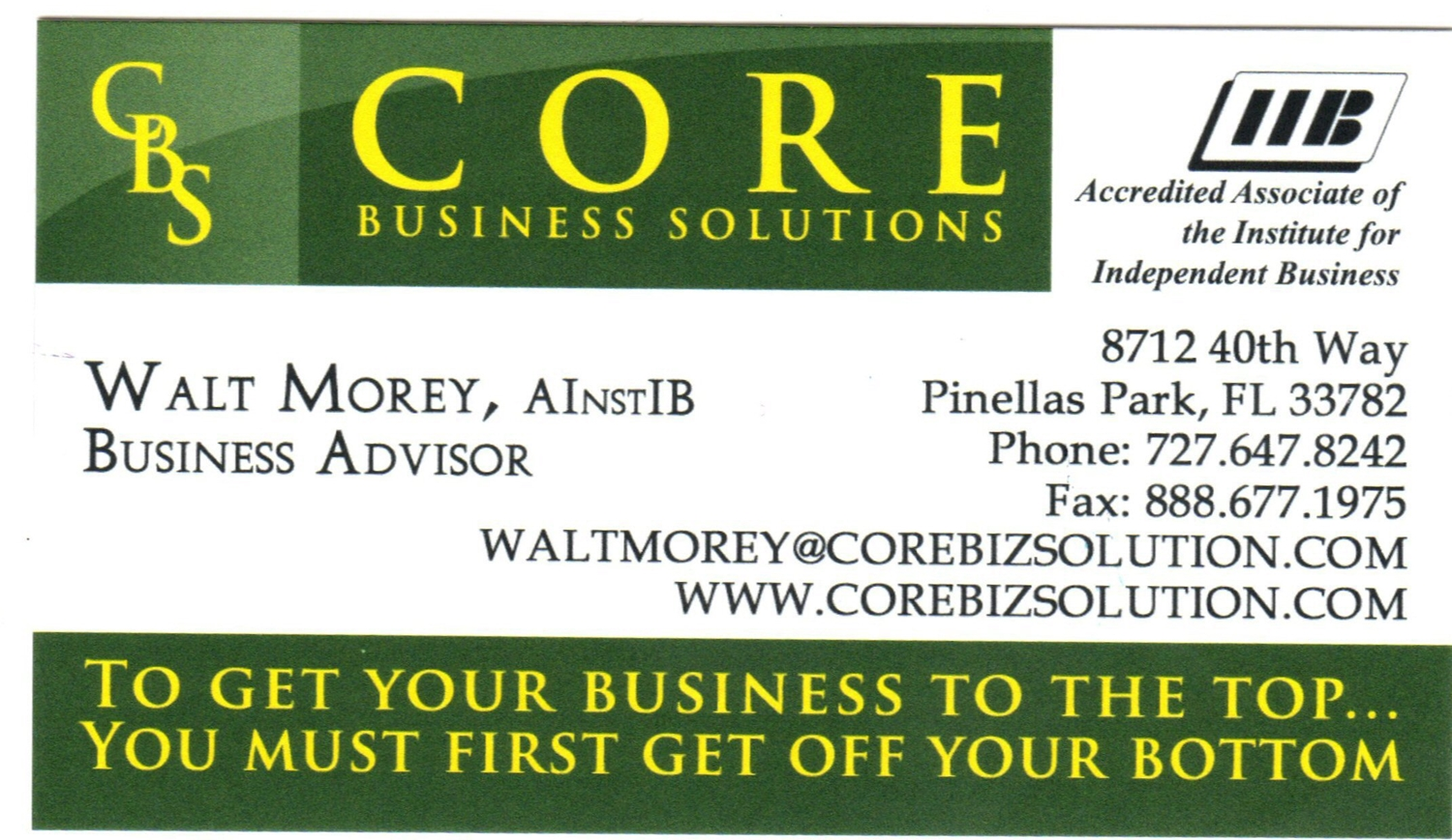 Business card of Core Business Solutions